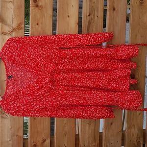 Boho red floral dress